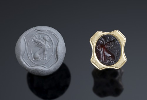 Neo egyptian gold seal fob with roman intaglio  - Antique Jewellery Style