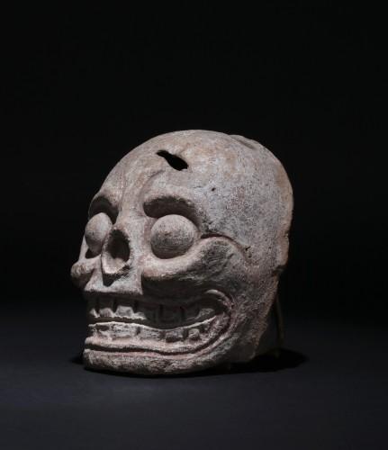 Ancient Art  - Mayan art, fragment of a burial urn figuring a skull