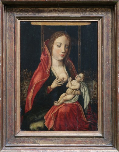 Our lady of the milk, flemish school 16th century
