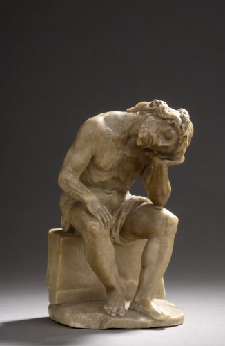 Sculpture  - Pensive christ alabaster, germany,  beginning of the 17th century