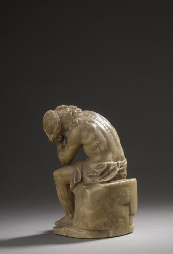17th century - Pensive christ alabaster, germany,  beginning of the 17th century