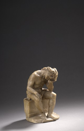 Pensive christ alabaster, germany,  beginning of the 17th century -