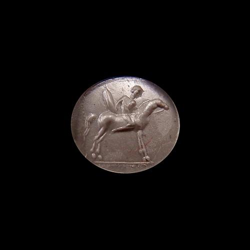 ROMAN CARNELIAN INTAGLIO : HORSEMAN  - Ancient Art Style