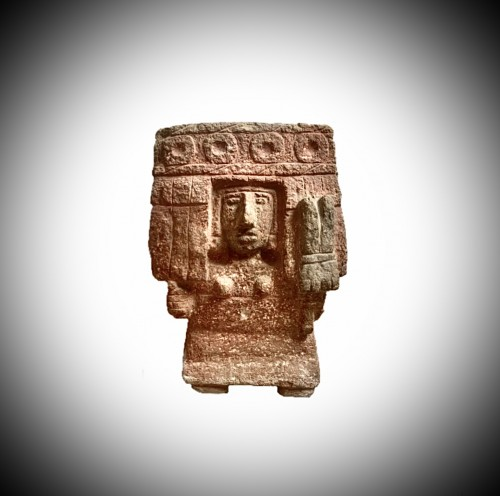 Aztec stone figure of the deity chicomecoatl - Ancient Art Style