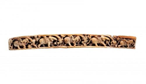 Ivory relief with elephants walking, Jammu-Kashmir 7-8th century