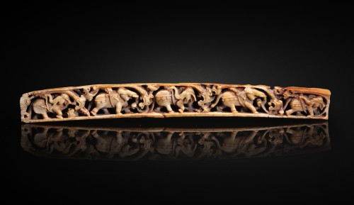 Ivory relief with elephants walking, Jammu-Kashmir 7-8th century - Asian Works of Art Style