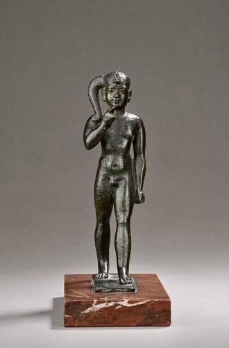 Ancient Art  - Egyptian bronze figure of harpocrates
