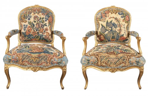 Upholstery and gilded wood Louis XV armchairs pair