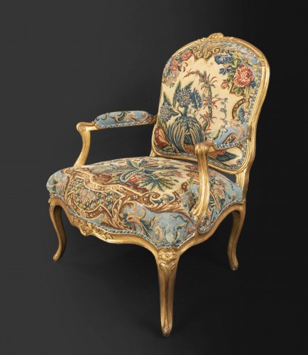 Seating  - Upholstery and gilded wood Louis XV armchairs pair