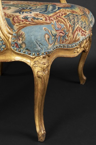 Antiquités - Upholstery and gilded wood Louis XV armchairs pair