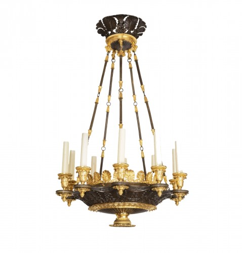"Patinated and gilded bronze chandelier ""Restauration"" period"