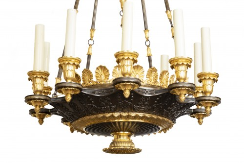 "Patinated and gilded bronze chandelier ""Restauration"" period - Lighting Style Restauration - Charles X"