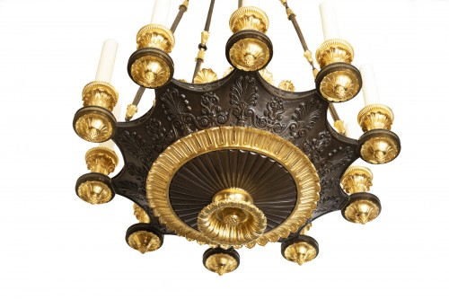 "Lighting  - Patinated and gilded bronze chandelier ""Restauration"" period"