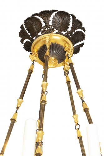 "19th century - Patinated and gilded bronze chandelier ""Restauration"" period"