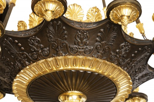 "Patinated and gilded bronze chandelier ""Restauration"" period - Restauration - Charles X"