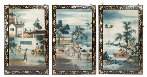"Set of three panels ""Ecole de Canton"" late 18th"