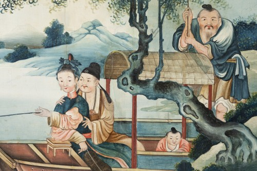 "Asian Art & Antiques  - Set of three panels ""Ecole de Canton"" late 18th"