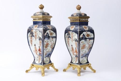 Japan porcelain vases pair 18th - Porcelain & Faience Style Louis XV
