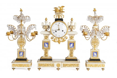 Set of clock and two candlesticks Directoire period late 18th