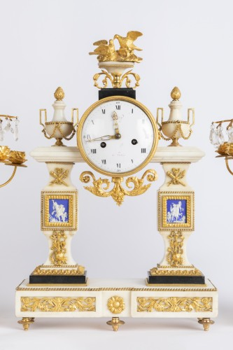 Set of clock and two candlesticks Directoire period late 18th - Clocks Style Directoire