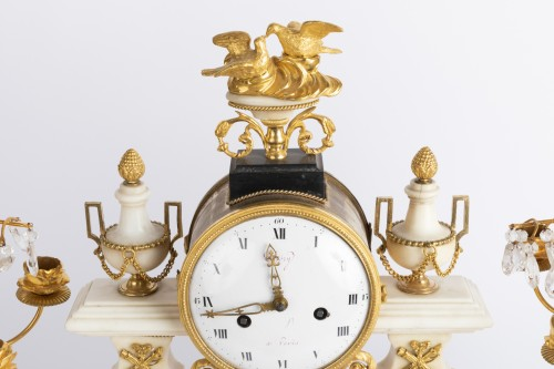 Clocks  - Set of clock and two candlesticks Directoire period late 18th