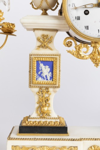 Set of clock and two candlesticks Directoire period late 18th -