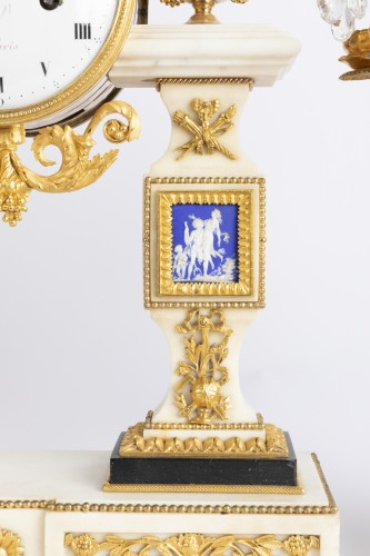 18th century - Set of clock and two candlesticks Directoire period late 18th