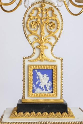 Antiquités - Set of clock and two candlesticks Directoire period late 18th