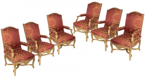 Six gilt wood armchairs set Regence period 18th