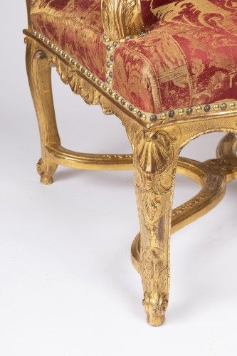 Seating  - Six gilt wood armchairs set Regence period 18th