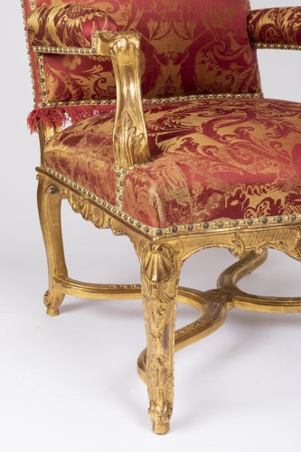 Six gilt wood armchairs set Regence period 18th - French Regence