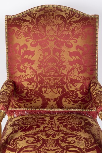 French Regence - Six gilt wood armchairs set Regence period 18th