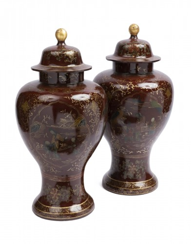 Painted sheet vases pair mid 18th