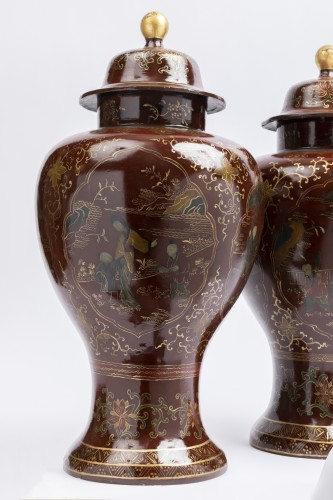 Painted sheet vases pair mid 18th -