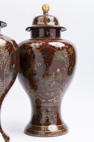 18th century - Painted sheet vases pair mid 18th