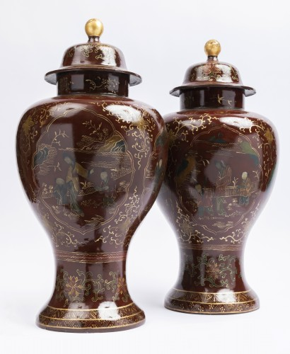 Painted sheet vases pair mid 18th - Louis XV