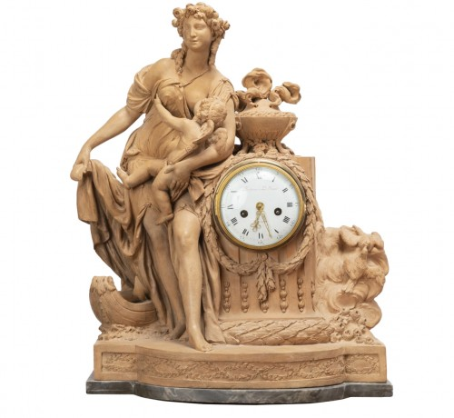 Terracotta clock signed FESTEAU LE JEUNE in Paris 18th