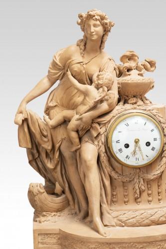 Terracotta clock signed FESTEAU LE JEUNE in Paris 18th - Clocks Style Louis XVI