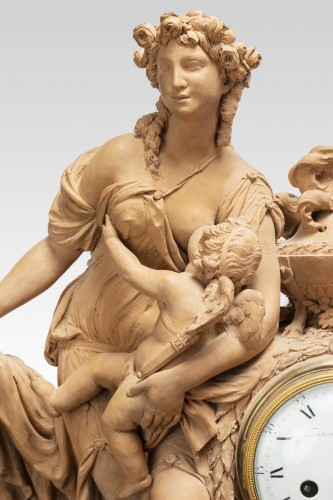 Clocks  - Terracotta clock signed FESTEAU LE JEUNE in Paris 18th