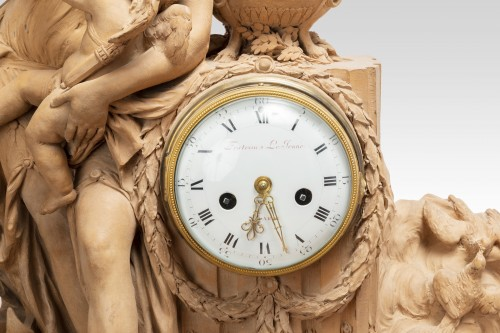 Terracotta clock signed FESTEAU LE JEUNE in Paris 18th -