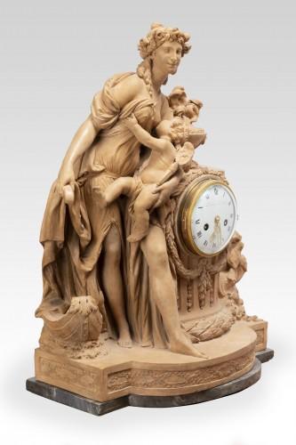 Antiquités - Terracotta clock signed FESTEAU LE JEUNE in Paris 18th