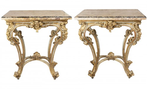 Painted and gilded wood consoles pair Venice 18th