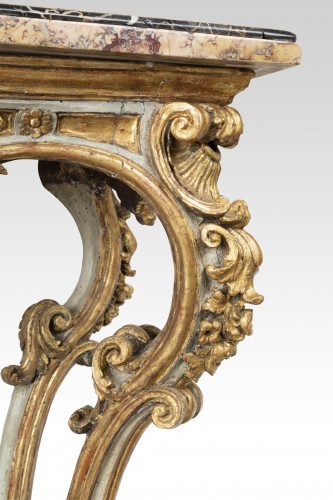 Painted and gilded wood consoles pair Venice 18th -