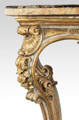 18th century - Painted and gilded wood consoles pair Venice 18th