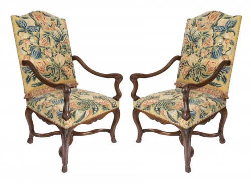 Tapestry walnut armchairs pair Régence period 18th