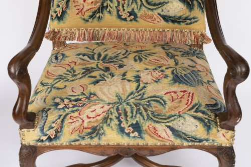 Antiquités - Tapestry walnut armchairs pair Régence period 18th