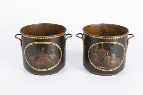 Painted sheet cooling buckets pair mid 18th - Decorative Objects Style Louis XV