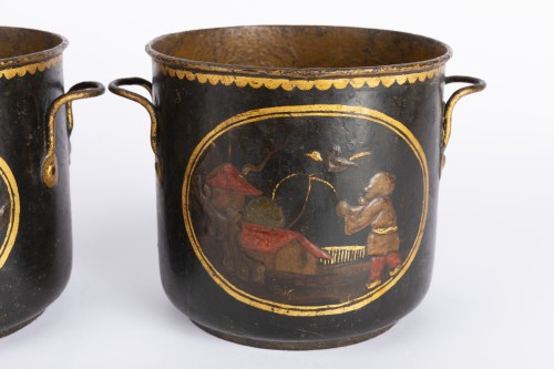 Louis XV - Painted sheet cooling buckets pair mid 18th