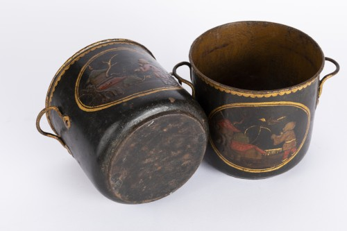 Antiquités - Painted sheet cooling buckets pair mid 18th