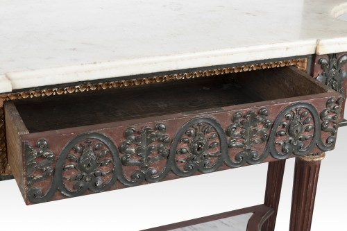 Furniture  - Painted wood etruscan console Directoire period late 18th